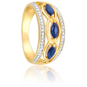 Bague Saphirs Torsadés & Diamants Or 18K
