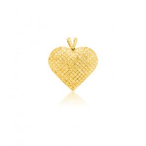 Pendentif Coeur Bombé Diamants 0,30 ct & Or Jaune 18K