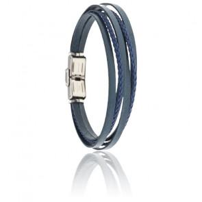 Bracelet acier & cuir tressé bleu italien