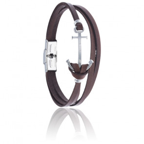 Bracelet acier & cuir italien marron