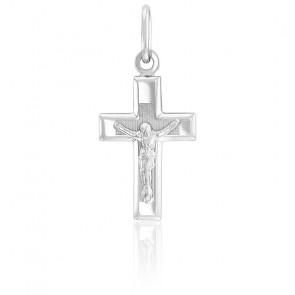 Pendentif Croix Christ Or Blanc 18K