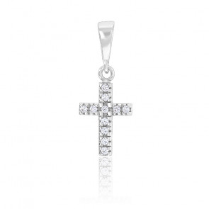 Pendentif Croix Diamants & Or Blanc 18K