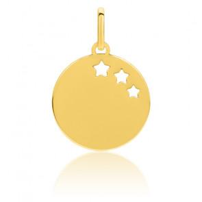 Pendentif jeton motif étoiles, Or jaune - Emanessence