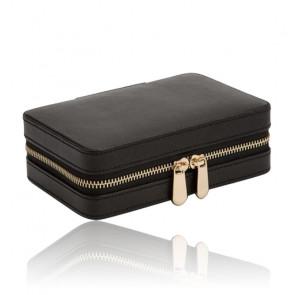 Boîte à Bijoux Voyage Zip Cuir Noir Palermo