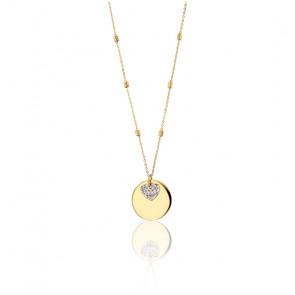 Collier Médaille et Cœur , or jaune et or blanc 9K