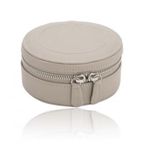 Mini Boîte à Bijoux Ronde Zip Cuir Taupe Sophia