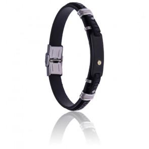 Bracelet acier, cuir noir italien & vis or 18k