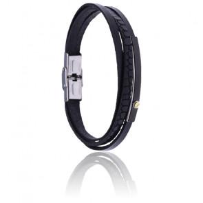 Bracelet fin, acier, cuir noir italien & vis or 18k