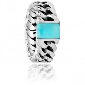 Bague Chain Stone Turquoise, Argent