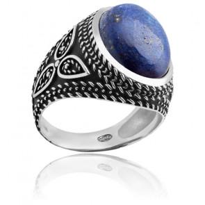 Bague en argent rhodié & lapiz lazuli