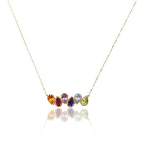 Collier 6 Charmed Rainbow Or 18K
