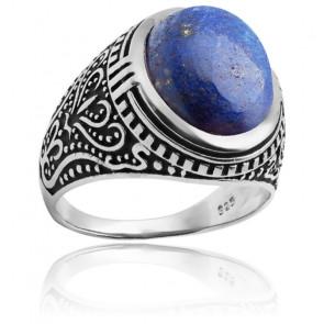 Bague en argent rhodié et lapiz lazuli