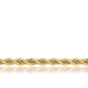 Chaîne Corde Torsadée Creuse, 2 Ors 18K, longueur 45 cm