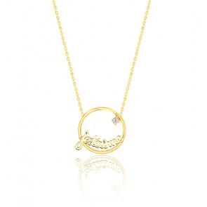 Collier Je t'aime, or jaune 9K & diamant