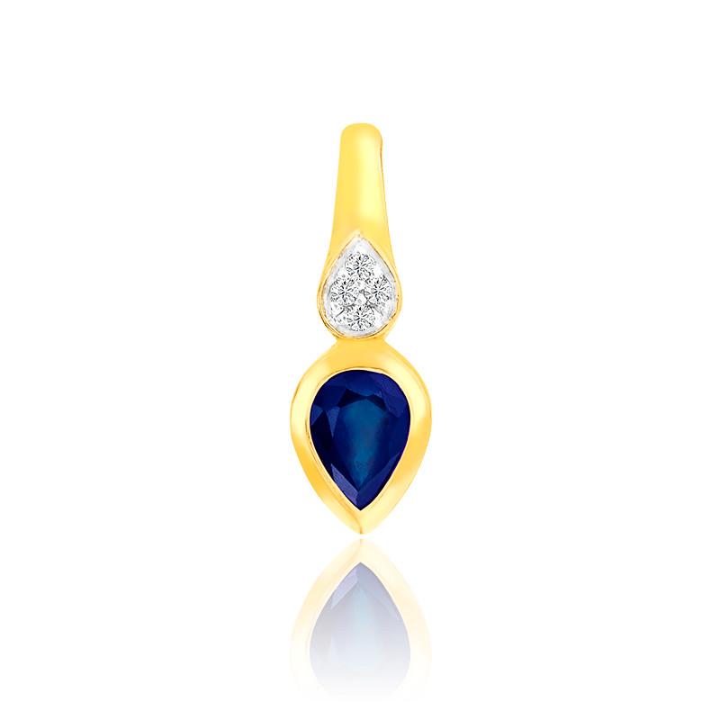 Pendentif Saphir & Diamants or jaune 9K