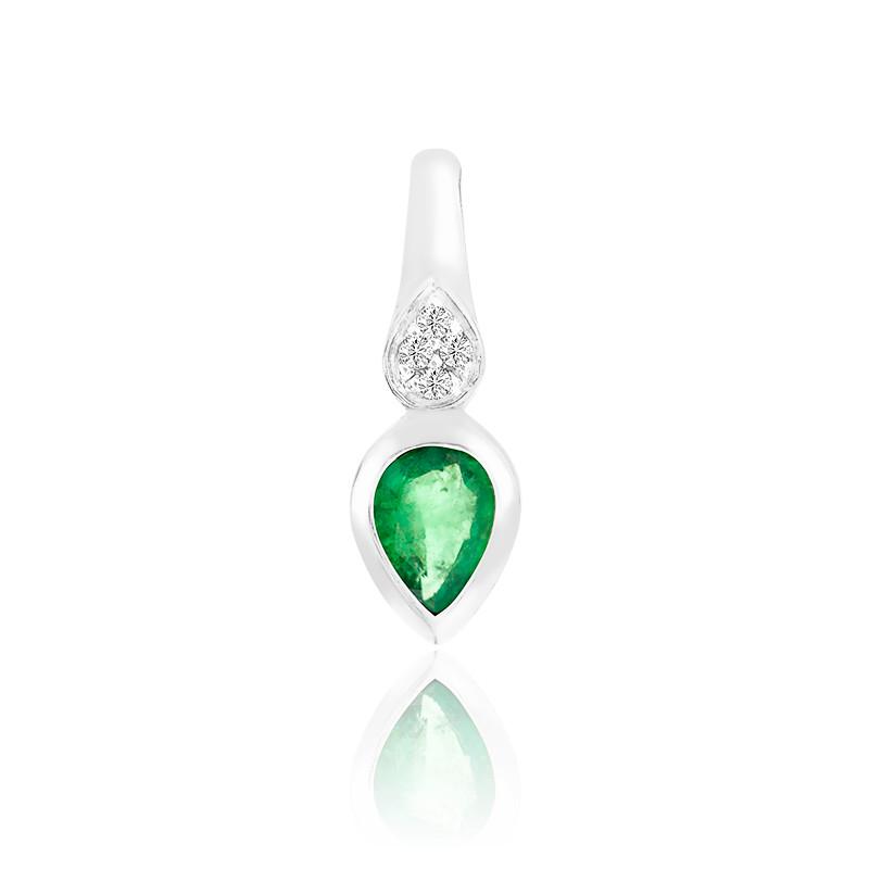 Pendentif Emeraude & Diamants or blanc 9K