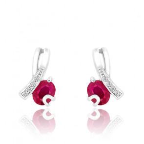 Boucles d'oreilles Rubis & Diamants Or Blanc 9K