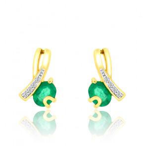 Boucles d'oreilles Emeraude & Diamants Or Jaune 9K