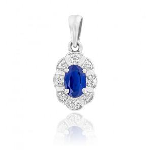 Pendentif Fleur Saphir & Diamants Or Blanc 9K