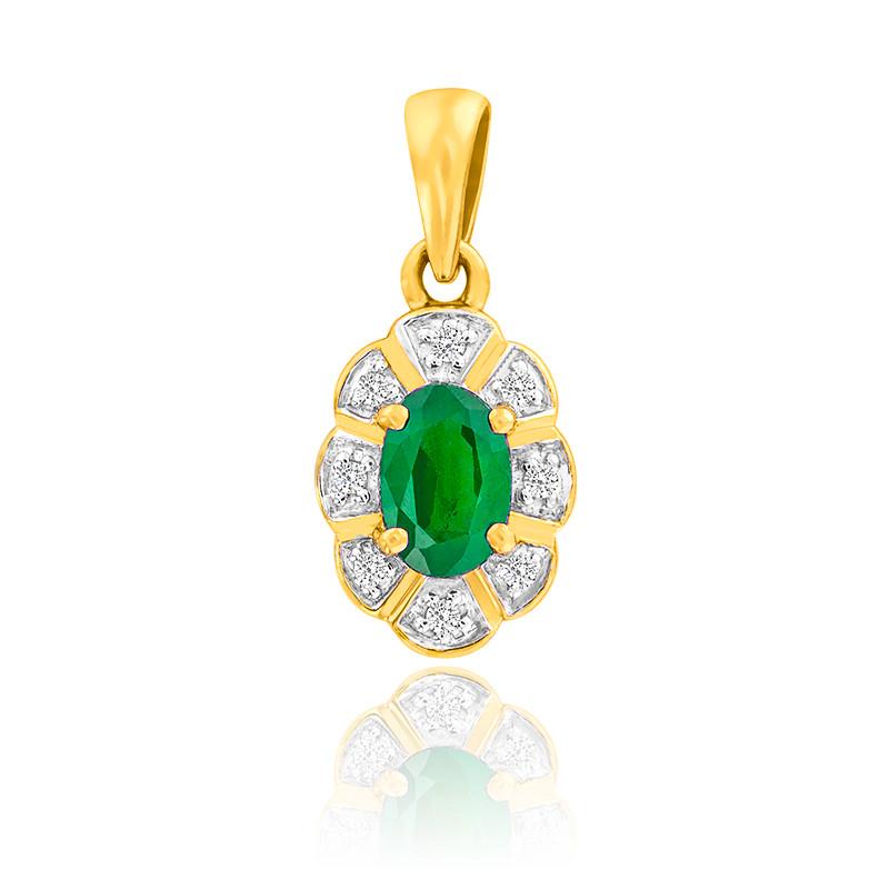 Pendentif Fleur Emeraude & Diamants Or Jaune 9K