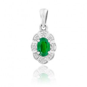Pendentif Fleur Emeraude & Diamants Or Blanc 9K