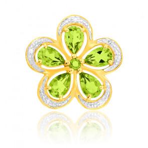 Pendentif Péridot & Diamants Or Jaune 9K