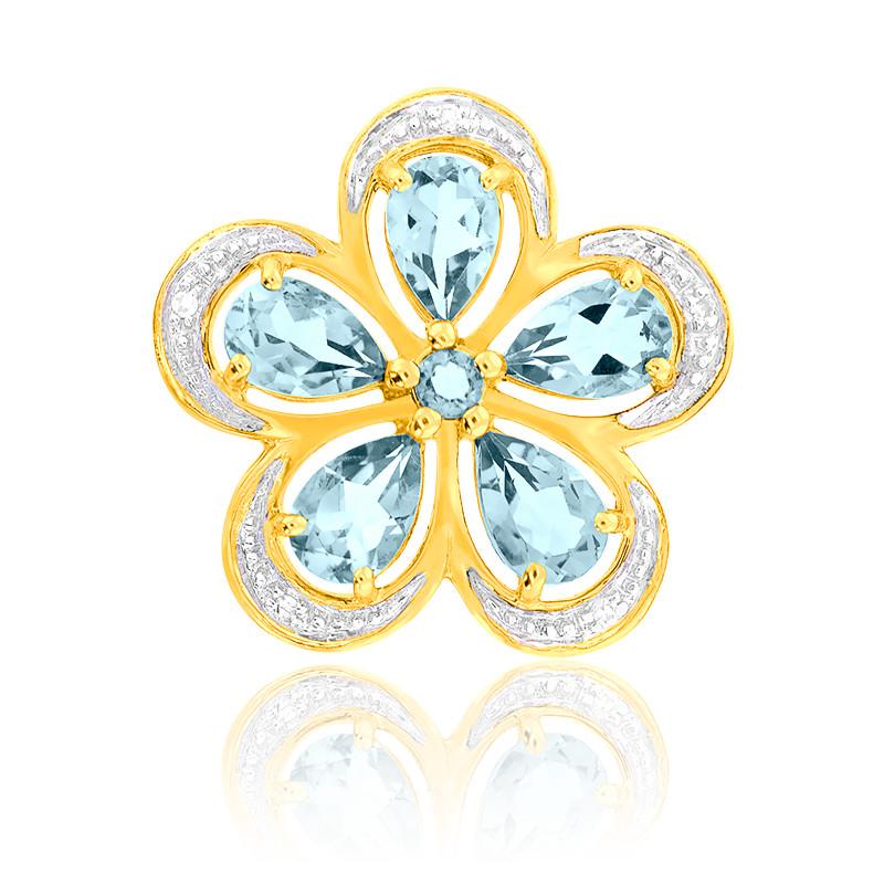 Pendentif Topaze & Diamants Or Jaune 9K