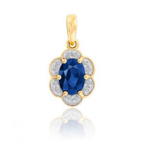 Pendentif  Fleur Saphir & Diamants Or Jaune 9K