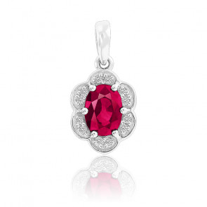 Pendentif  Fleur Rubis & Diamants Or Blanc 9K