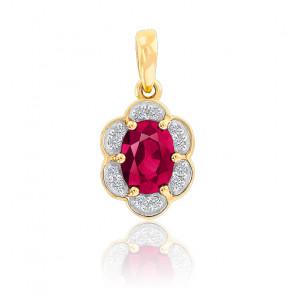 Pendentif  Fleur Rubis & Diamants Or Jaune 9K