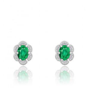 Boucles d'oreilles Emeraude & Diamants, Or Blanc 9K