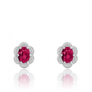 Boucles d'oreilles Rubis & Diamants, Or Blanc 9K