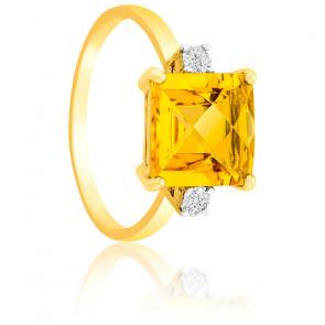 Bague Or Jaune 9K Citrine & Diamants