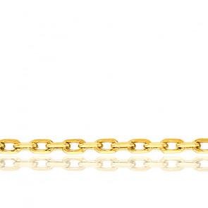 Chaîne Forçat Diamantée, Or Jaune 18K, longueur 42 cm