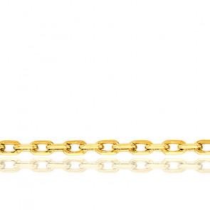 Chaîne Forçat Diamantée, Or Jaune 9K, longueur 60 cm