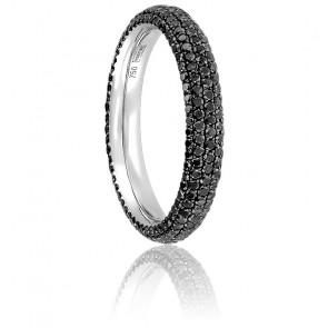 Alliance Full Eternity 5 Rangs Diamants Noirs & Or Blanc 18K