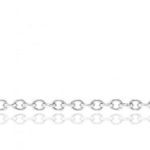 Chaîne Forçat, Or Blanc 18K, longueur 80 cm