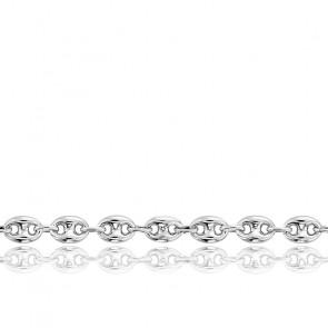 Chaîne Grain de Café Creuse, Or blanc 18K, longueur 50 cm