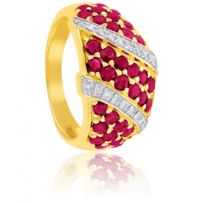 Bague Or Jaune 9K Rubis & Diamants