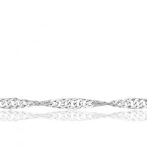 Chaîne Singapour, Or Blanc 18K, longueur 60 cm