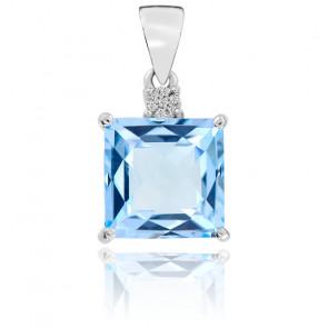 Pendentif Or Blanc 9K Topaze et Diamants