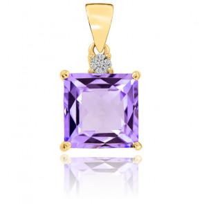 Pendentif  Améthyste et Diamants Or Jaune 9K