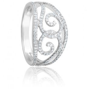 Bague Arabesque Diamants & Or Blanc 18K
