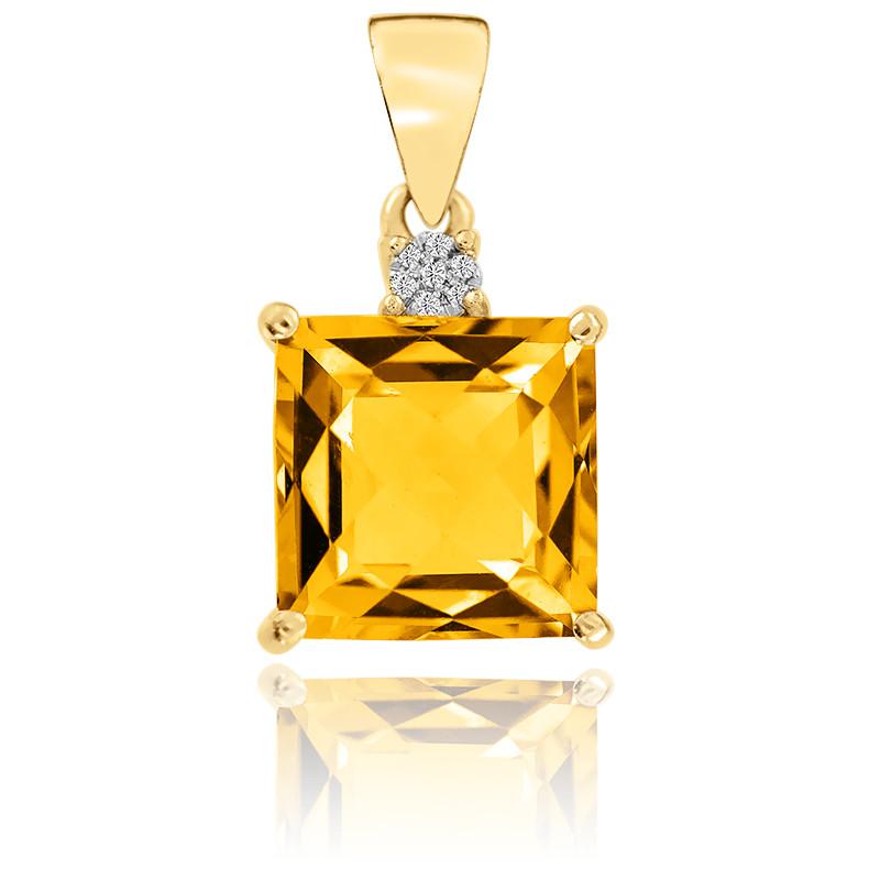 Pendentif  Citrine et Diamants Or Jaune 9K