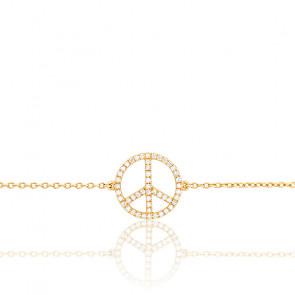Bracelet Peace & Love, Diamants et Or Blanc 18K