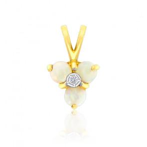 Pendentif Triangle Opale & Diamants Or Jaune 9K
