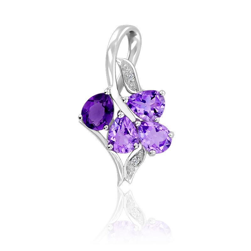 Pendentif Grappe De Raisin Améthyste & Diamants