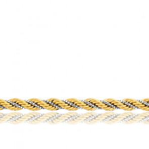 Chaîne Corde Torsadée Creuse, 2 Ors 18K, longueur 60 cm