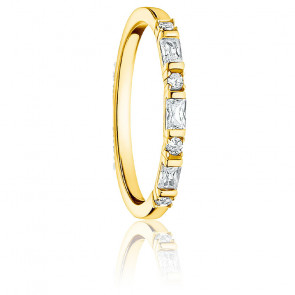 Bague Fine Or Pierres Blanches - TR2348-414-14