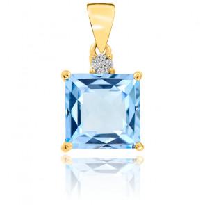 Pendentif  Topaze et Diamants Or Jaune 9K